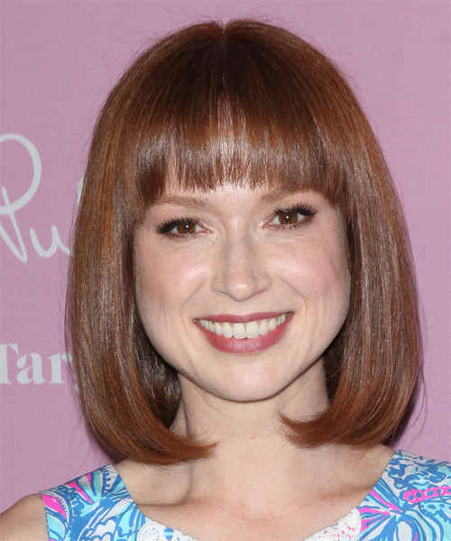Ellie Kemper Medium Straight Formal  Bob  Hairstyle with Blunt Cut Bangs  -  Mahogany Brunette Hair Color