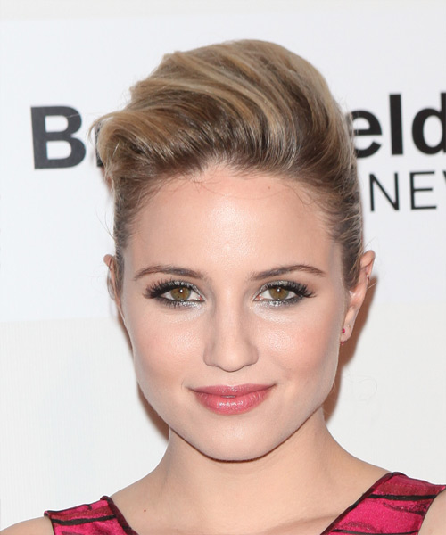 Dianna Agron Medium Straight   Light Chestnut Brunette  Updo    with  Blonde Highlights