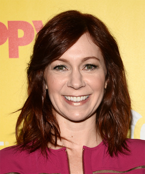 Carrie Preston Medium Straight Casual   Hairstyle with Side Swept Bangs  - Dark Red