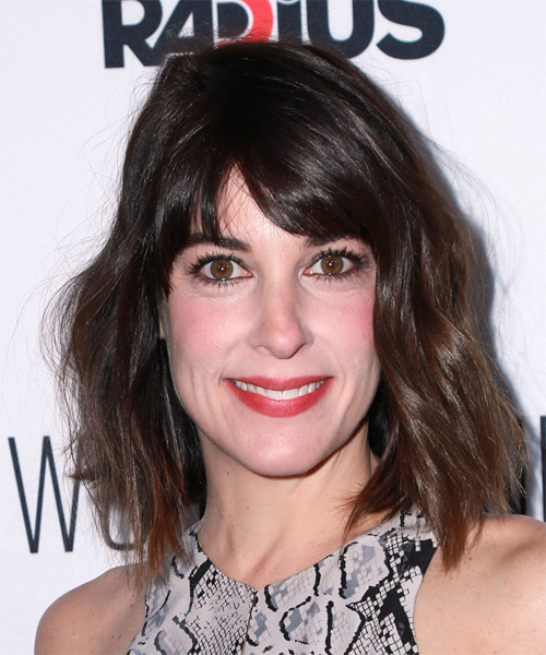Lindsay Sloane Medium Straight Casual    Hairstyle with Side Swept Bangs  -  Chocolate Brunette Hair Color