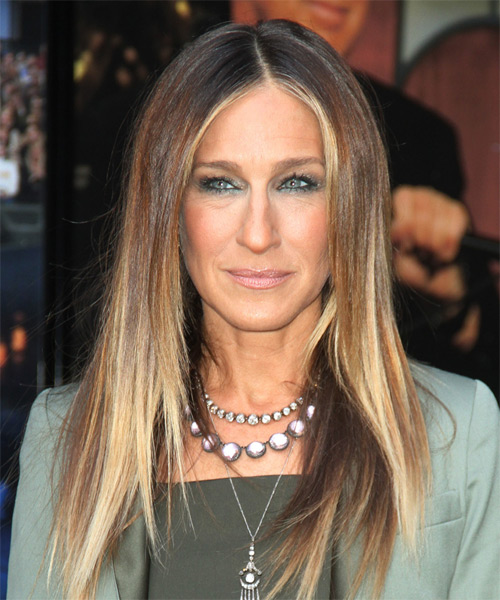 Sarah Jessica Parker Long Straight Casual    Hairstyle   -  Brunette Hair Color with Light Blonde Highlights