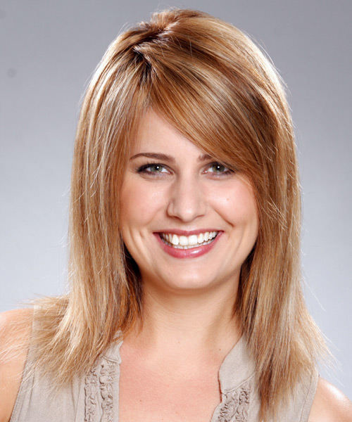 Long Straight   Dark Copper Blonde   Hairstyle with Side Swept Bangs  and Light Blonde Highlights