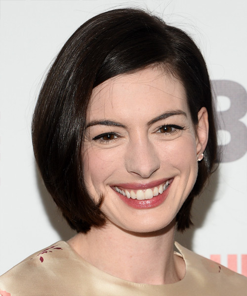 Anne Hathaway Medium Straight Casual Bob  Hairstyle   - Dark Brunette (Mocha)