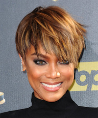 Tyra Banks Short Straight Casual Layered Pixie  Hairstyle   -  Golden Brunette Hair Color with  Blonde Highlights