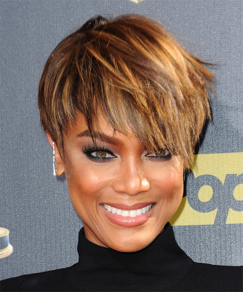 Tyra Banks Short Straight Casual Layered Pixie  Hairstyle   - Medium Golden Brunette Hair Color with Medium Blonde Highlights