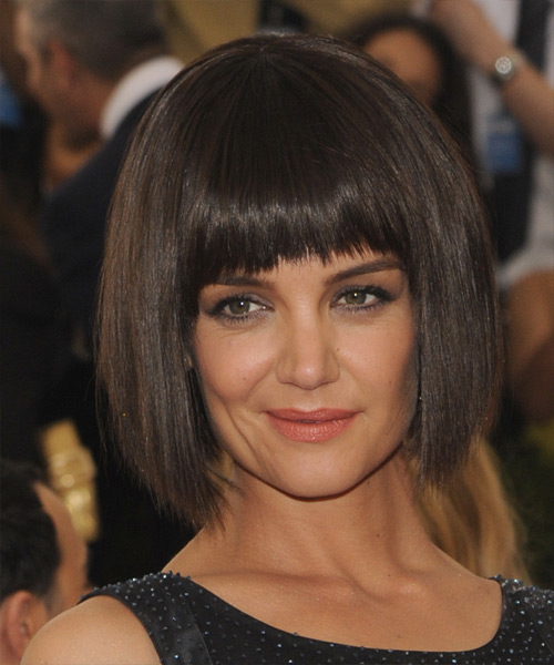 Katie Holmes Medium Straight Casual Bob Hairstyle with Layered Bangs - Dark Brunette Hair Color