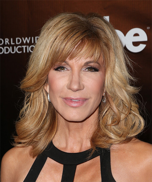 Leeza Gibbons Medium Wavy Formal    Hairstyle with Side Swept Bangs  -  Golden Blonde Hair Color