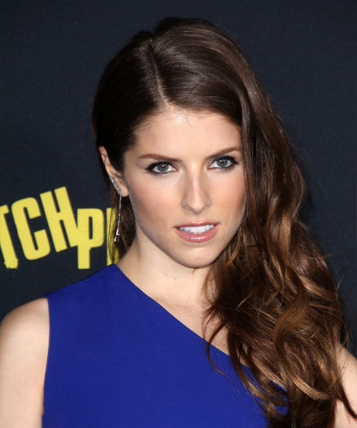 Anna Kendrick Long Wavy Formal    Hairstyle   - Dark Brunette Hair Color