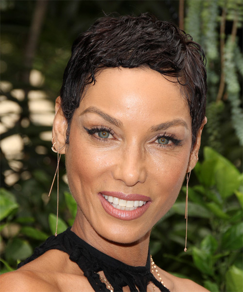 Nicole Murphy Short Wavy Casual Layered Pixie  Hairstyle   -  Brunette Hair Color
