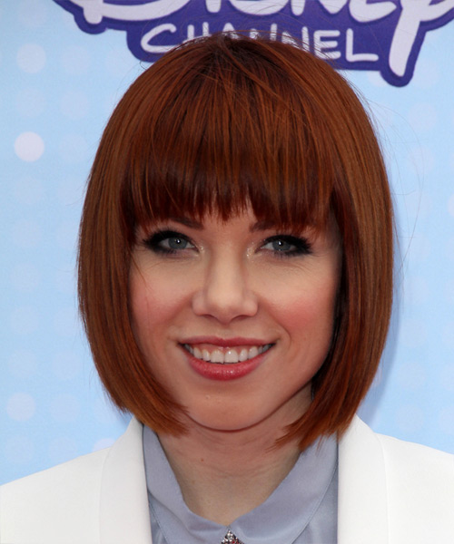 Carly Rae Jepsen Medium Straight Formal  Bob  Hairstyle with Razor Cut Bangs  -  Red Hair Color