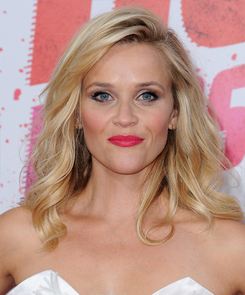 Reese Witherspoon Long Wavy Casual    Hairstyle   - Light Golden Blonde Hair Color