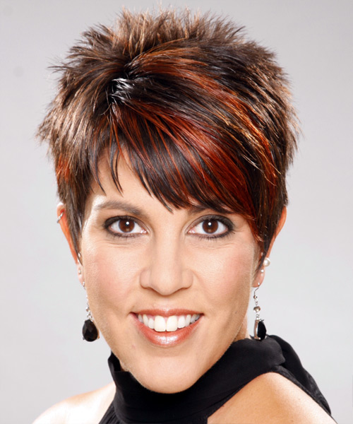 short hairstyle with height on top and soft wispy bangs