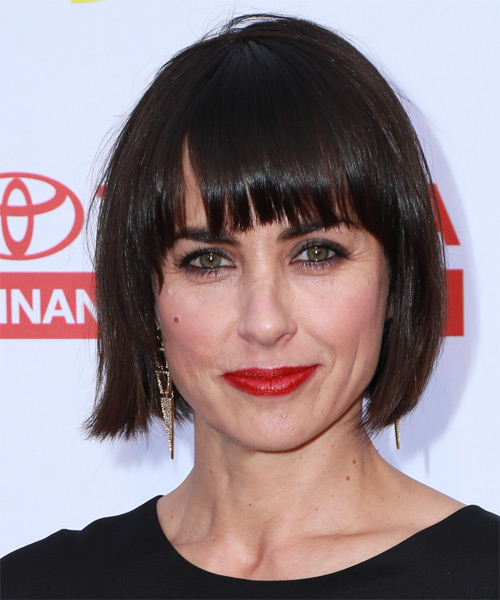 Constance Zimmer Medium Straight Casual Bob  Hairstyle with Layered Bangs  - Dark Brunette