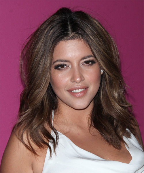 Denise Bidot Medium Wavy Casual   Hairstyle   - Medium Brunette