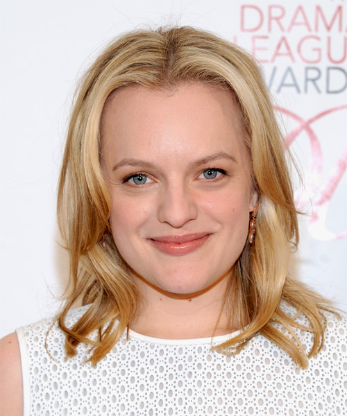 Elisabeth Moss Medium Straight    Golden Blonde   Hairstyle