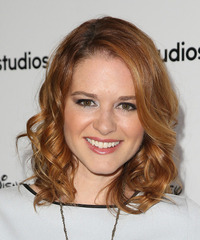 Sarah Drew Medium Curly Formal    Hairstyle   - Light Ginger Red Hair Color