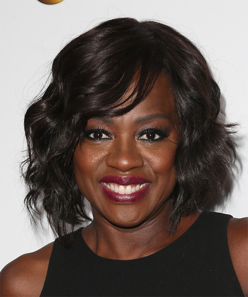 Viola Davis Medium Wavy   Mocha   Hairstyle with Side Swept Bangs