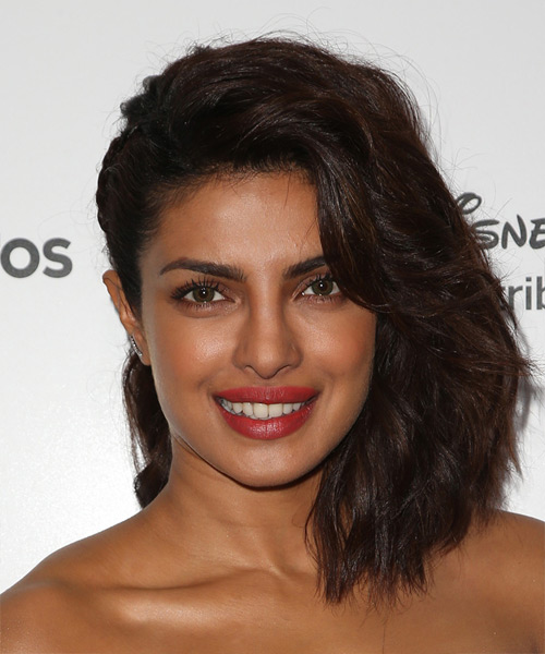 Priyanka Chopra Medium Wavy Formal Dark Brunette Half Up Hairstyle