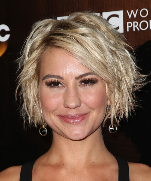 Chelsea Kane Medium Wavy Casual    Hairstyle   - Light Blonde Hair Color