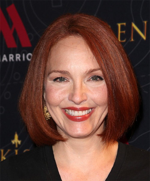 Amy Yasbeck Medium Straight Layered  Dark Red Bob  Haircut