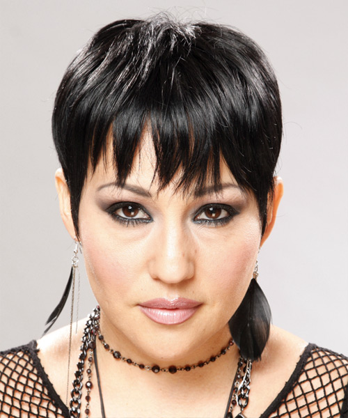 Short Straight Casual  Pixie  Hairstyle   - Black Mocha  Hair Color