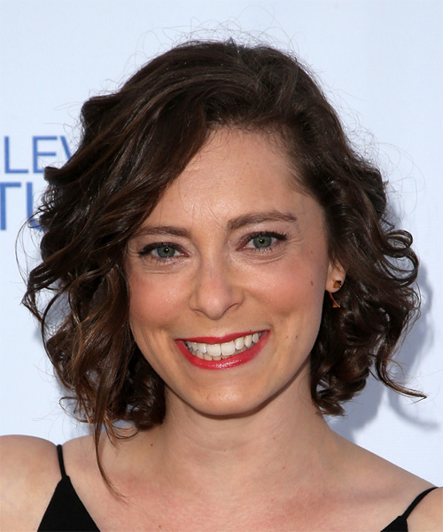 Rachel Bloom Medium Curly Casual    Hairstyle   - Dark Brunette Hair Color