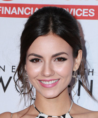 Victoria Justice Long Wavy Formal   Updo Hairstyle   - Dark Brunette Hair Color