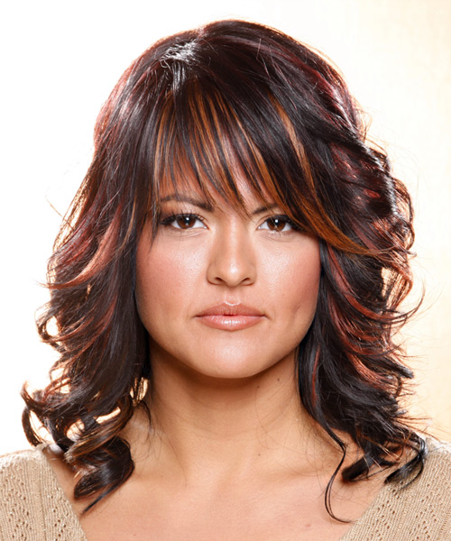 Long Wavy   Dark Plum Brunette   Hairstyle with Layered Bangs  and  Red Highlights