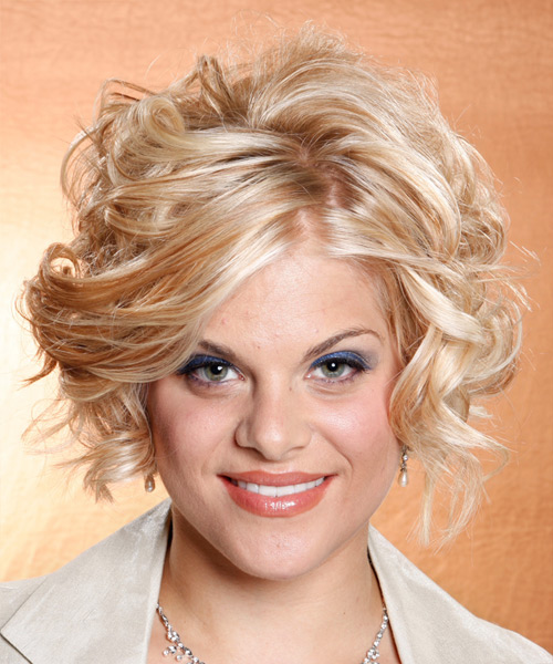 Medium Wavy Formal    Hairstyle   - Light Copper Blonde Hair Color