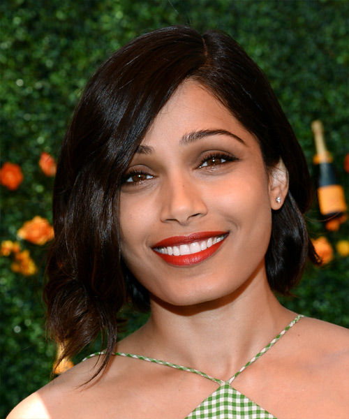 Freida Pinto Medium Straight Casual    Hairstyle   - Dark Brunette Hair Color