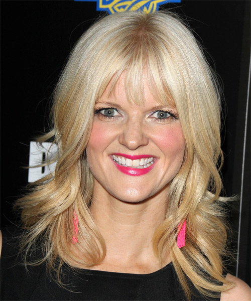 Arden Myrin Medium Straight Casual   Hairstyle with Layered Bangs  - Light Blonde