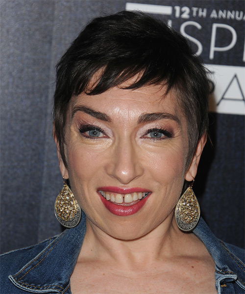 Naomi Grossman Short Straight Casual Pixie  Hairstyle with Side Swept Bangs  - Dark Brunette