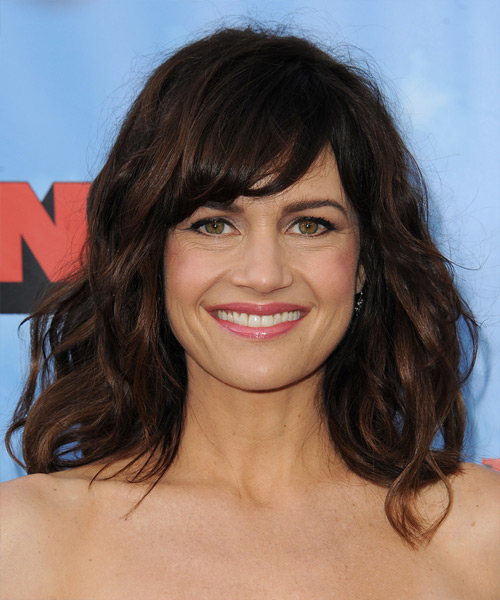 Carla Gugino Medium Wavy   Dark Brunette   Hairstyle with Side Swept Bangs