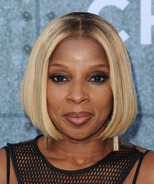 Mary J Blige Medium Straight Formal Bob  Hairstyle   - Medium Blonde