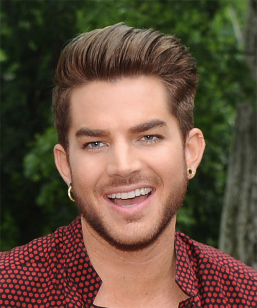 Adam Lambert Short Straight Formal    Hairstyle   - Light Caramel Brunette Hair Color