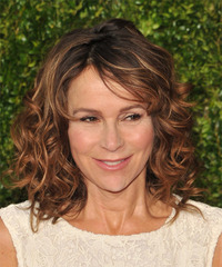 Jennifer Grey Medium Curly Casual    Hairstyle   -  Copper Brunette Hair Color with Dark Blonde Highlights