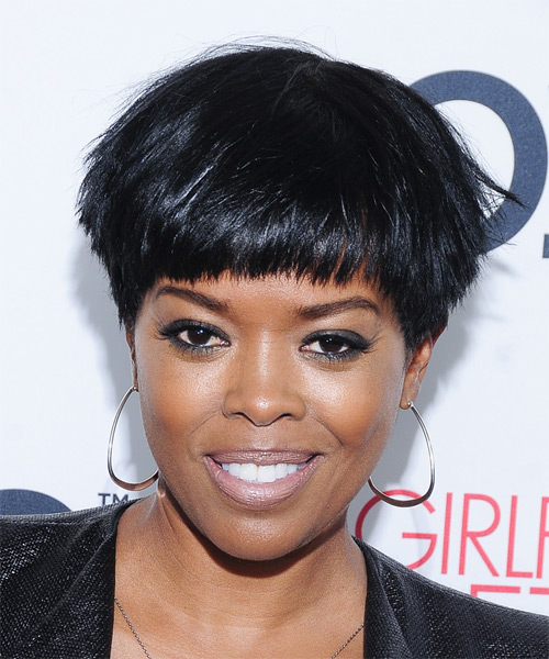 Malinda Williams Short Straight Black Ash Hairstyle