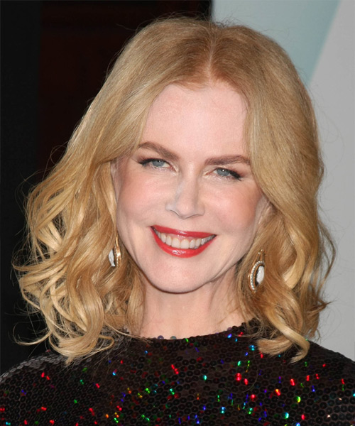 Nicole Kidman Medium Wavy Formal    Hairstyle   - Light Strawberry Blonde Hair Color