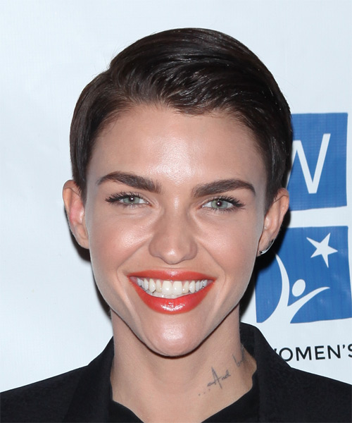 Ruby Rose Short Straight Formal   Hairstyle   - Dark Brunette