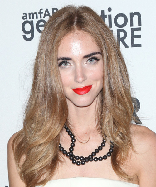Chiara Ferragni Long Straight   Light Caramel Brunette   Hairstyle