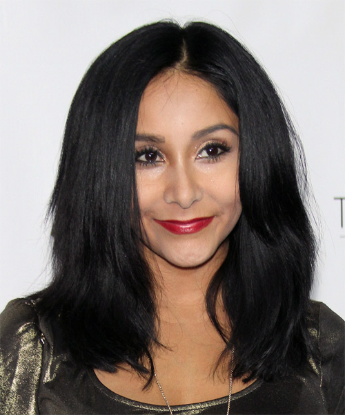 Nicole Polizzi Medium Straight Casual   Hairstyle   - Black