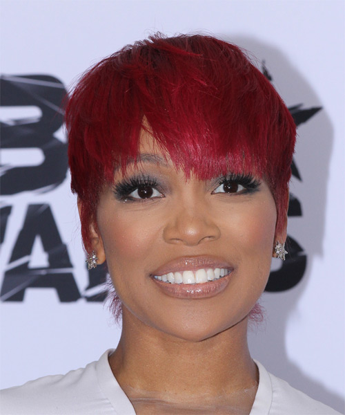 Monica Brown   Layered   Bright Red Pixie  Cut with Razor Cut Bangs