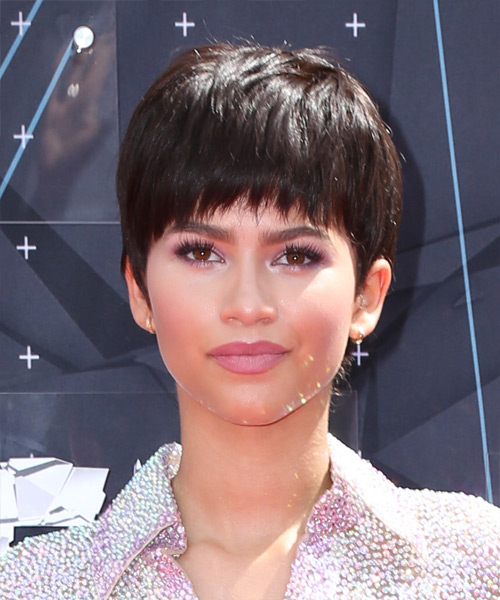 Zendaya Coleman Short Straight Casual Layered Pixie  Hairstyle with Razor Cut Bangs  - Medium Chocolate Brunette Hair Color