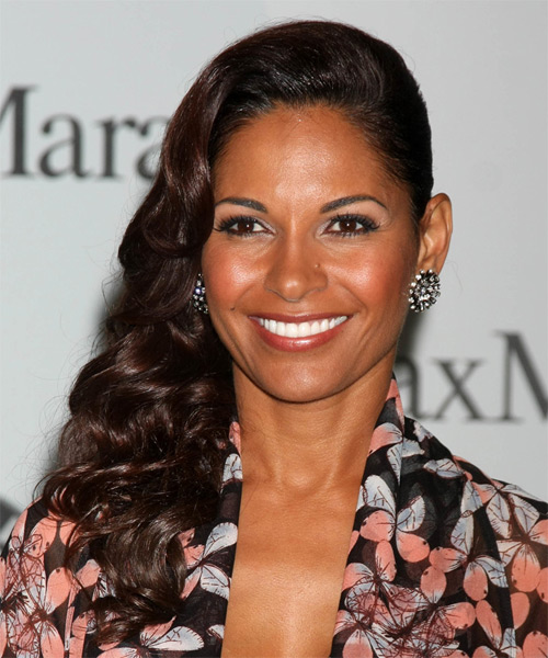 Salli Richardson Whitfield Long Wavy Formal    Hairstyle   - Dark Brunette Hair Color