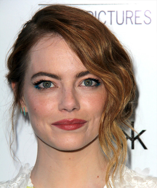 Emma Stone Long Wavy Formal Wedding Updo Hairstyle
