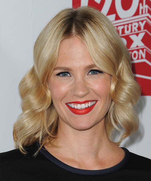 January Jones Medium Wavy Formal   Hairstyle   - Medium Blonde (Golden)