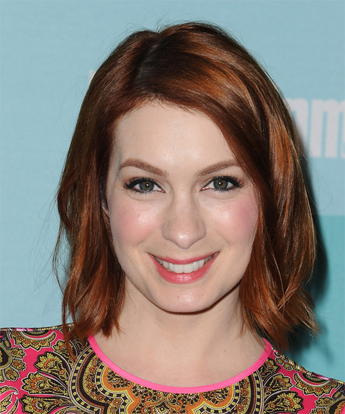 Felicia Day Medium Straight Casual   Hairstyle   - Medium Red (Auburn)
