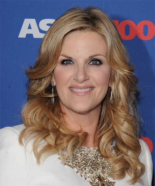 Trisha Yearwood Long Wavy Formal    Hairstyle   - Dark Blonde Hair Color with Light Blonde Highlights