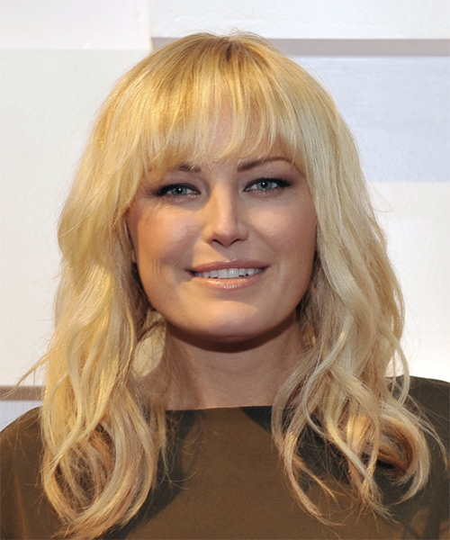 Malin Akerman Long Wavy Casual   Hairstyle with Blunt Cut Bangs  - Light Blonde