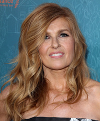 Connie Britton Long Wavy Formal    Hairstyle with Side Swept Bangs  - Light Copper Red Hair Color with  Blonde Highlights